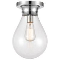 Innovations Lighting 414-1F-PC-8CL Genesis 1 Light 8 inch Polished Chrome Flush Mount Ceiling Light