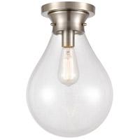 Innovations Lighting 414-1F-SN-10CL-LED Genesis LED 10 inch Satin nickel Flush Mount Ceiling Light