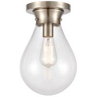 Innovations Lighting 414-1F-SN-8CL Genesis 1 Light 8 inch Satin Nickel Flush Mount Ceiling Light