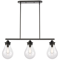 Innovations Lighting 414-3I-BK-8CL-LED Genesis LED 39 inch Matte Black Mini Pendant Ceiling Light
