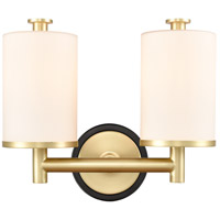 Innovations Lighting 418-2W-BSB-W-LED Marlowe LED 14 inch Black Satin Brass Bath Vanity Light Wall Light