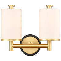 Innovations Lighting 418-2W-BSG-W Marlowe 2 Light 14 inch Black Satin Gold Bath Vanity Light Wall Light