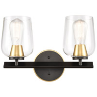 Innovations Lighting 420-2W-BSG-CL-LED Remy LED 15 inch Black Satin Gold Bath Vanity Light Wall Light