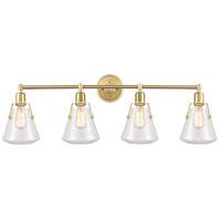 Innovations Lighting 422-4W-SB-7CL Luna 4 Light 40 inch Satin Brass Bath Vanity Light Wall Light