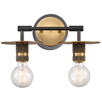 Innovations Lighting 431-2W-BBB-LED Aurora LED 14 inch Black Brushed Brass Bath Vanity Light Wall Light Restoration