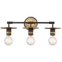 Innovations Lighting 431-3W-BBB-LED Aurora LED 22 inch Black Brushed Brass Bath Vanity Light Wall Light Restoration