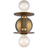 Innovations Lighting 433-2W-BBB Aurora 2 Light 6 inch Black Brushed Brass Sconce Wall Light Restoration