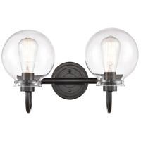 Innovations Lighting 437-2W-BK-CL-LED Olivia LED 17 inch Matte Black Bath Vanity Light Wall Light