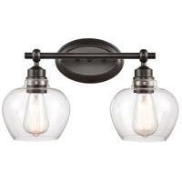 Innovations Lighting 438-2W-BK-CL-LED Amina LED 17 inch Matte Black Bath Vanity Light Wall Light