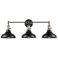 Innovations Lighting 443SW-3W-BAB-M15BK Metro 3 Light 37 inch Black Antique Brass Bath Vanity Light Wall Light