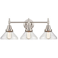 Innovations Lighting 447-3W-SN-CL Caden 3 Light 26 inch Satin Nickel Bath Vanity Light Wall Light