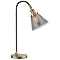 Black Brook 22 inch 100 watt Black and Antique Brass Table Lamp Portable Light, Large, Cone