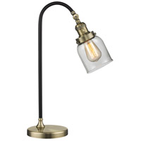 Black Brook 22 inch 100 watt Black and Antique Brass Table Lamp Portable Light, Small, Bell