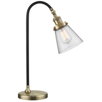Black Brook 22 inch 100 watt Black and Antique Brass Table Lamp Portable Light, Small, Cone