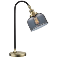 Black Brook 22 inch 100 watt Black and Antique Brass Table Lamp Portable Light, Large, Bell