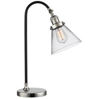 Black Brook 22 inch 100 watt Black and Polished Nickel Table Lamp Portable Light, Large, Cone