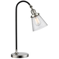 Black Brook 22 inch 100 watt Black and Polished Nickel Table Lamp Portable Light, Small, Cone