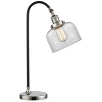 Black Brook 22 inch 100 watt Black and Polished Nickel Table Lamp Portable Light, Large, Bell