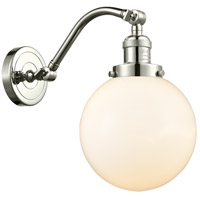 Innovations Lighting 515-1W-PN-G201-8-LED Large Beacon LED 8 inch Polished Nickel Sconce Wall Light, Franklin Restoration