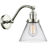 Innovations Lighting 515-1W-PN-G42-LED Large Cone LED 8 inch Polished Nickel Sconce Wall Light, Franklin Restoration
