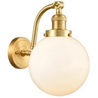 Innovations Lighting 515-1W-SG-G201-8-LED Large Beacon LED 8 inch Satin Gold Sconce Wall Light Franklin Restoration
