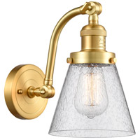 Innovations Lighting 515-1W-SG-G64-LED Small Cone LED 7 inch Satin Gold Sconce Wall Light Franklin Restoration