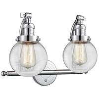 Innovations Lighting 515-2W-PC-G202-6 Beacon 2 Light 16 inch Polished Chrome Bath Vanity Light Wall Light Franklin Restoration