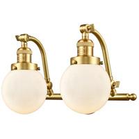 Innovations Lighting 515-2W-SG-G201-6-LED Beacon LED 16 inch Satin Gold Bath Vanity Light Wall Light Franklin Restoration