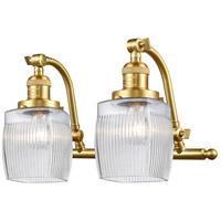 Innovations Lighting 515-2W-SG-G302 Colton 2 Light 17 inch Satin Gold Bath Vanity Light Wall Light Franklin Restoration