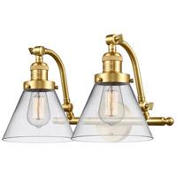 Innovations Lighting 515-2W-SG-G42 Large Cone 2 Light 18 inch Satin Gold Bath Vanity Light Wall Light Franklin Restoration