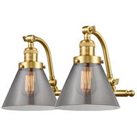 Innovations Lighting 515-2W-SG-G43-LED Large Cone LED 18 inch Satin Gold Bath Vanity Light Wall Light Franklin Restoration