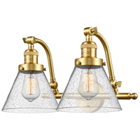 Innovations Lighting 515-2W-SG-G44-LED Large Cone LED 18 inch Satin Gold Bath Vanity Light Wall Light Franklin Restoration
