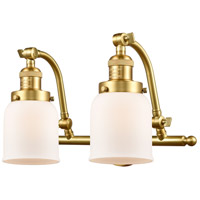 Innovations Lighting 515-2W-SG-G51-LED Small Bell LED 18 inch Satin Gold Bath Vanity Light Wall Light Franklin Restoration