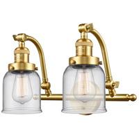 Innovations Lighting 515-2W-SG-G52-LED Small Bell LED 18 inch Satin Gold Bath Vanity Light Wall Light Franklin Restoration