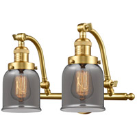 Innovations Lighting 515-2W-SG-G53-LED Small Bell LED 18 inch Satin Gold Bath Vanity Light Wall Light Franklin Restoration