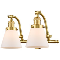 Innovations Lighting 515-2W-SG-G61-LED Small Cone LED 18 inch Satin Gold Bath Vanity Light Wall Light Franklin Restoration