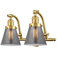 Innovations Lighting 515-2W-SG-G63-LED Small Cone LED 18 inch Satin Gold Bath Vanity Light Wall Light Franklin Restoration