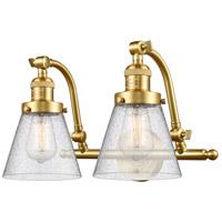 Innovations Lighting 515-2W-SG-G64-LED Small Cone LED 18 inch Satin Gold Bath Vanity Light Wall Light Franklin Restoration