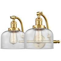 Innovations Lighting 515-2W-SG-G72-LED Large Bell LED 18 inch Satin Gold Bath Vanity Light Wall Light Franklin Restoration