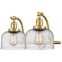 Innovations Lighting 515-2W-SG-G74-LED Large Bell LED 18 inch Satin Gold Bath Vanity Light Wall Light Franklin Restoration