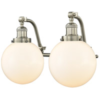 Innovations Lighting 515-2W-SN-G201-8 Large Beacon 2 Light 18 inch Satin Nickel Bath Vanity Light Wall Light Franklin Restoration