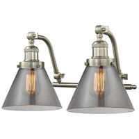 Innovations Lighting 515-2W-SN-G43 Large Cone 2 Light 18 inch Satin Nickel Bath Vanity Light Wall Light Franklin Restoration