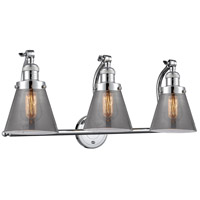 Innovations Lighting 515-3W-PC-G63 Small Cone 3 Light 28 inch Polished Chrome Bath Vanity Light Wall Light Franklin Restoration