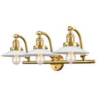 Innovations Lighting 515-3W-SG-G1 Halophane 3 Light 28 inch Satin Gold Bath Vanity Light Wall Light Franklin Restoration