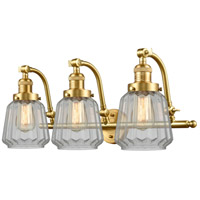 Innovations Lighting 515-3W-SG-G142 Chatham 3 Light 28 inch Satin Gold Bath Vanity Light Wall Light Franklin Restoration