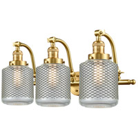 Innovations Lighting 515-3W-SG-G262 Stanton 3 Light 28 inch Satin Gold Bath Vanity Light Wall Light Franklin Restoration