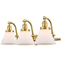 Innovations Lighting 515-3W-SG-G41-LED Large Cone LED 28 inch Satin Gold Bath Vanity Light Wall Light Franklin Restoration