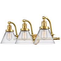 Innovations Lighting 515-3W-SG-G42-LED Large Cone LED 28 inch Satin Gold Bath Vanity Light Wall Light Franklin Restoration