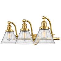 Innovations Lighting 515-3W-SG-G44-LED Large Cone LED 28 inch Satin Gold Bath Vanity Light Wall Light Franklin Restoration