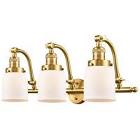 Innovations Lighting 515-3W-SG-G51-LED Small Bell LED 28 inch Satin Gold Bath Vanity Light Wall Light, Franklin Restoration
